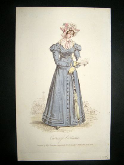 Lady's Magazine 1824 H/Col Regency Fashion Print. Carriage Costume 50 | Albion Prints